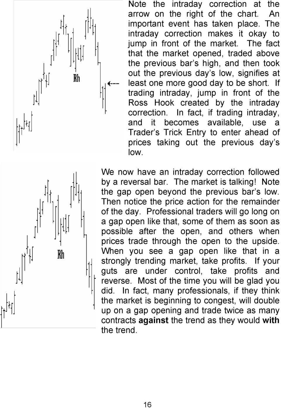 If trading intraday, jump in front of the Ross Hook created by the intraday correction.