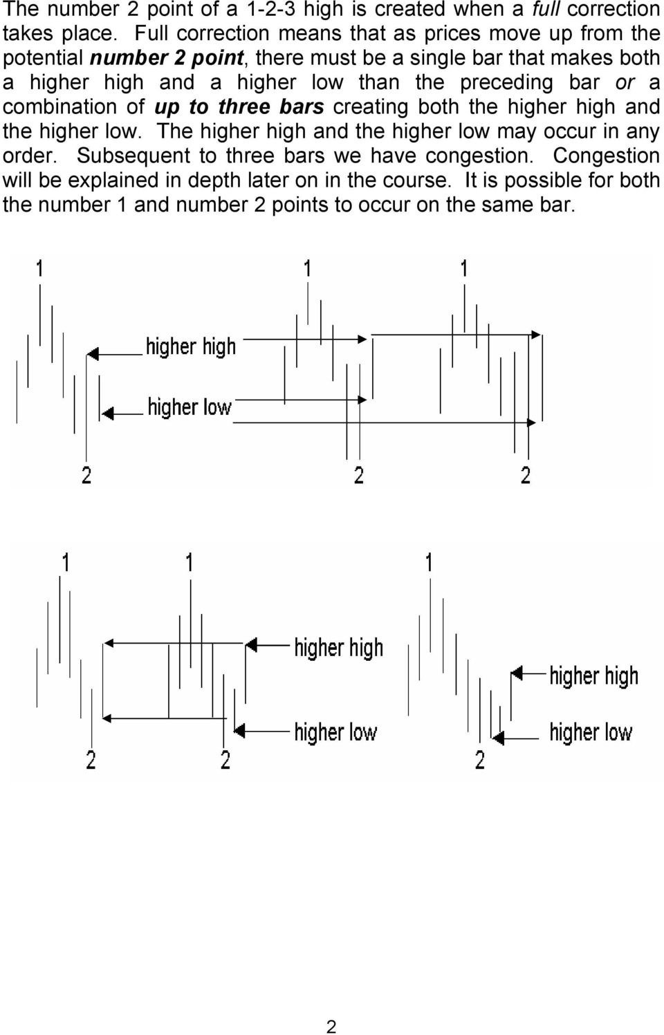 higher low than the preceding bar or a combination of up to three bars creating both the higher high and the higher low.