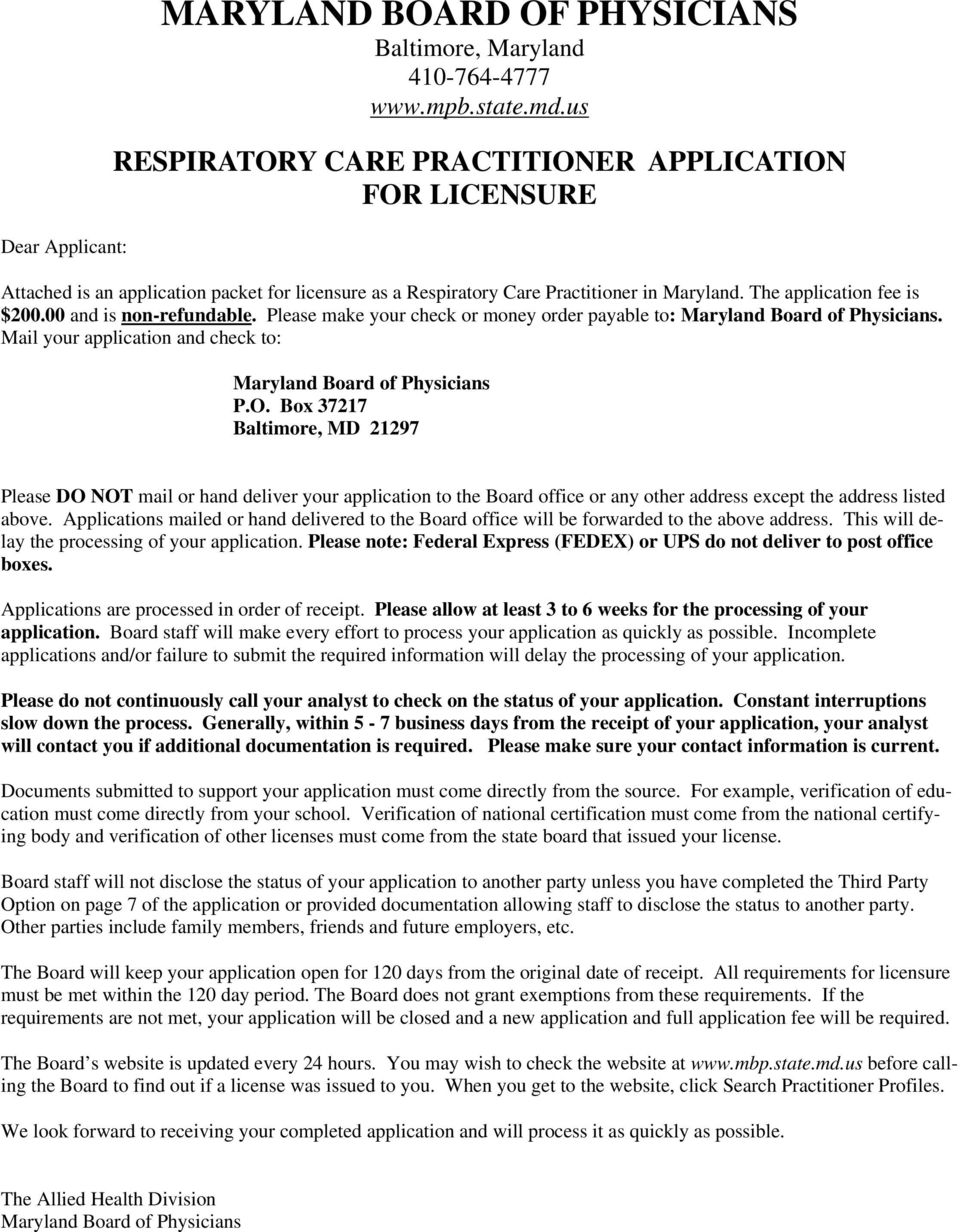 MARYLAND BOARD OF PHYSICIANS Baltimore, Maryland - PDF