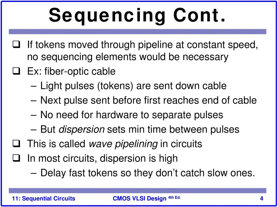 cable Light pulses (tokens) are sent down cable Next pulse sent before first reaches end of cable No need for