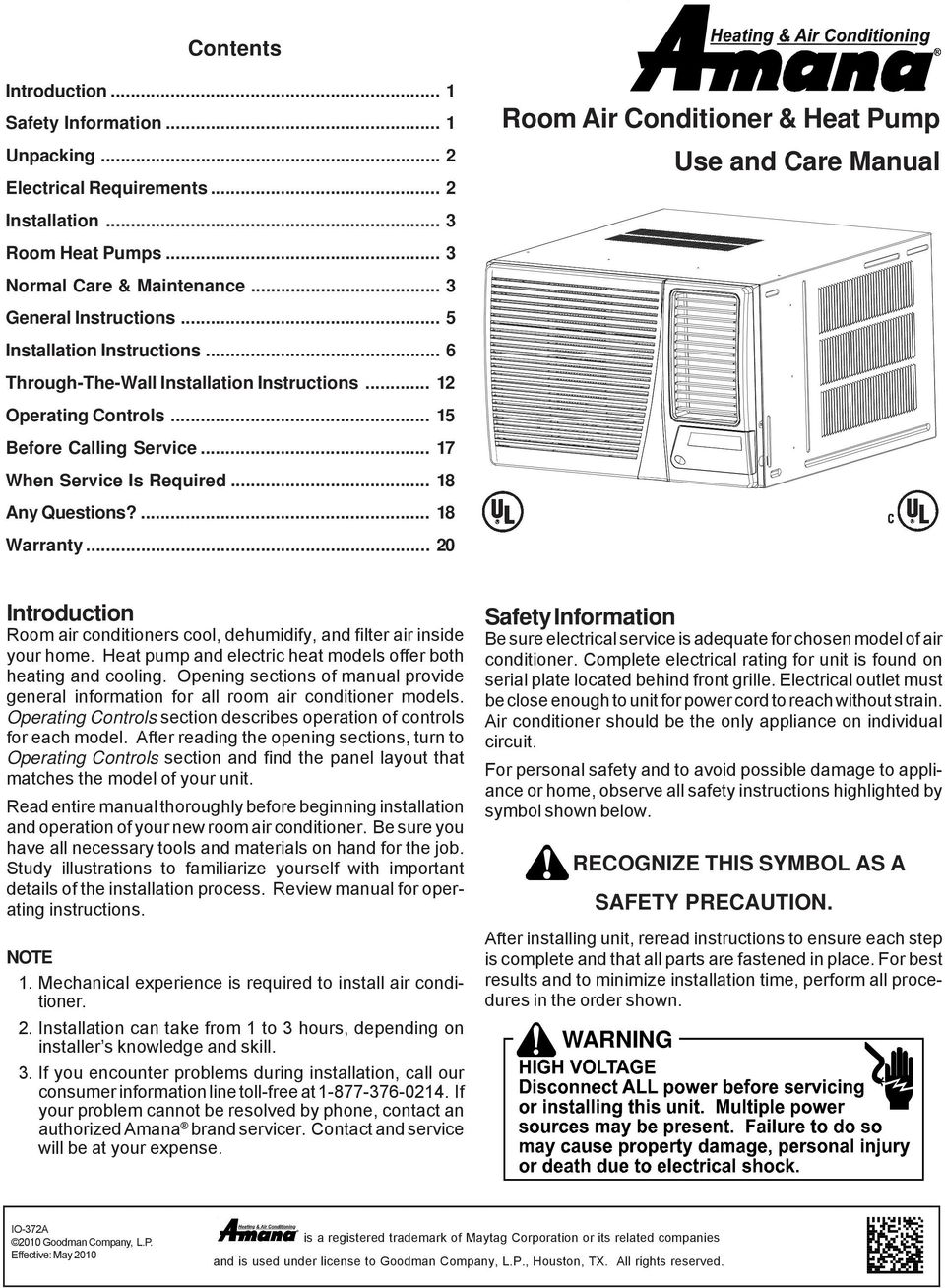 Room Air Conditioner & Heat Pump Use and Care Manual - PDF