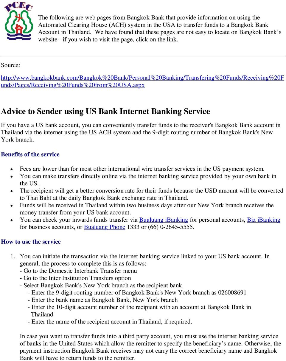 Us Bank Wire Transfer Fee | Advice To Sender Using Us Bank Internet Banking Service Pdf