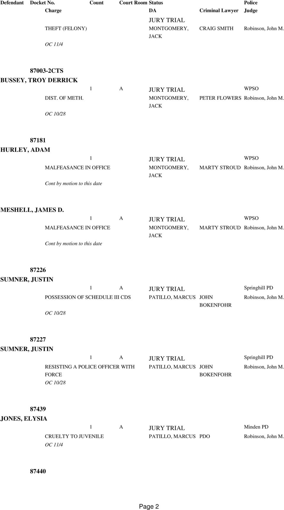 PARISH DISTRICT COURT DOCKET FROM 2/3/2014 TO - PDF