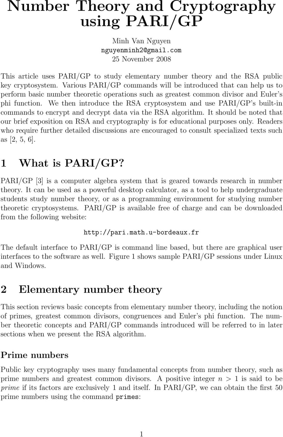 Number Theory and Cryptography using PARI/GP - PDF