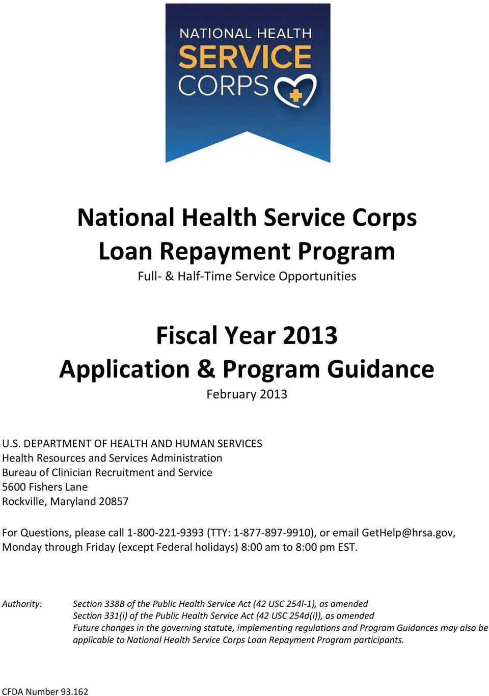 rvice Opportunities Fiscal Year 2013 Application & Program Guidance February 2013 U.S.