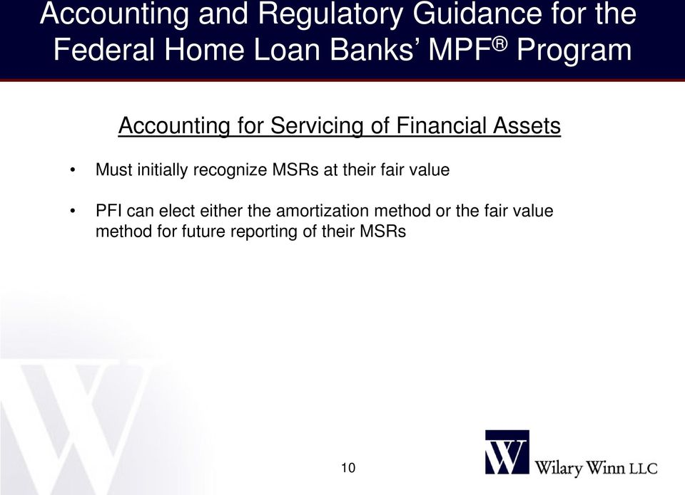 Accounting And Regulatory Guidance For The Federal Home Loan Banks