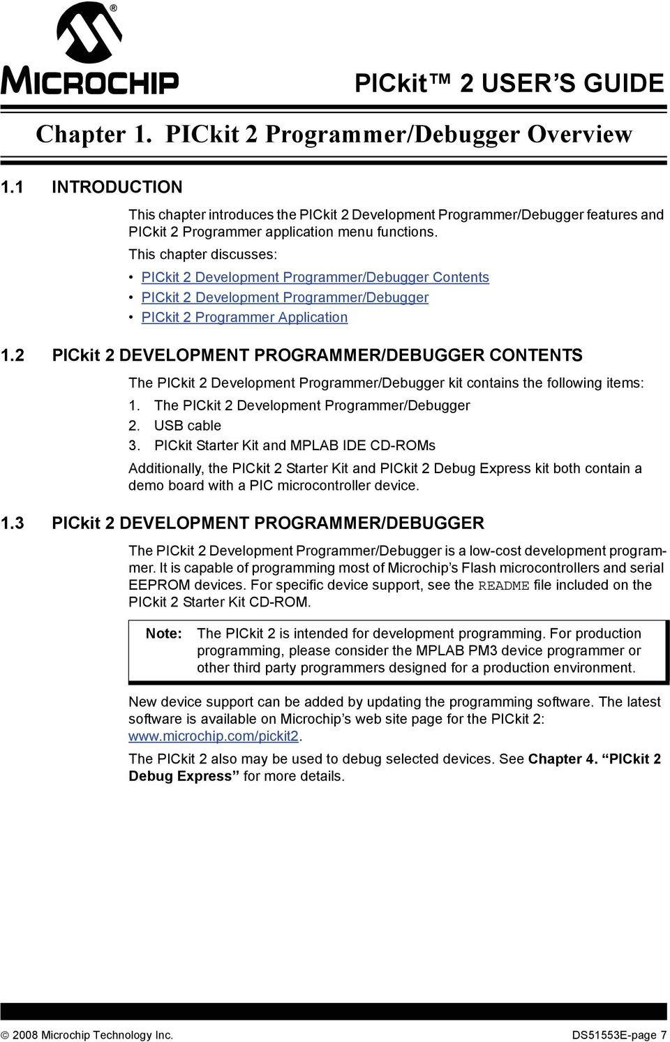 Pickit 2 Programmer Debugger User S Guide Pdf Original Microcontroller This Chapter Discusses Development Contents
