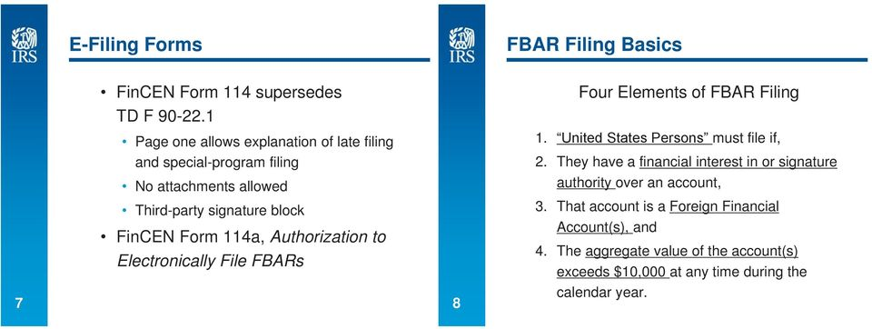 Fbar Background Reporting Foreign Financial Accounts On The