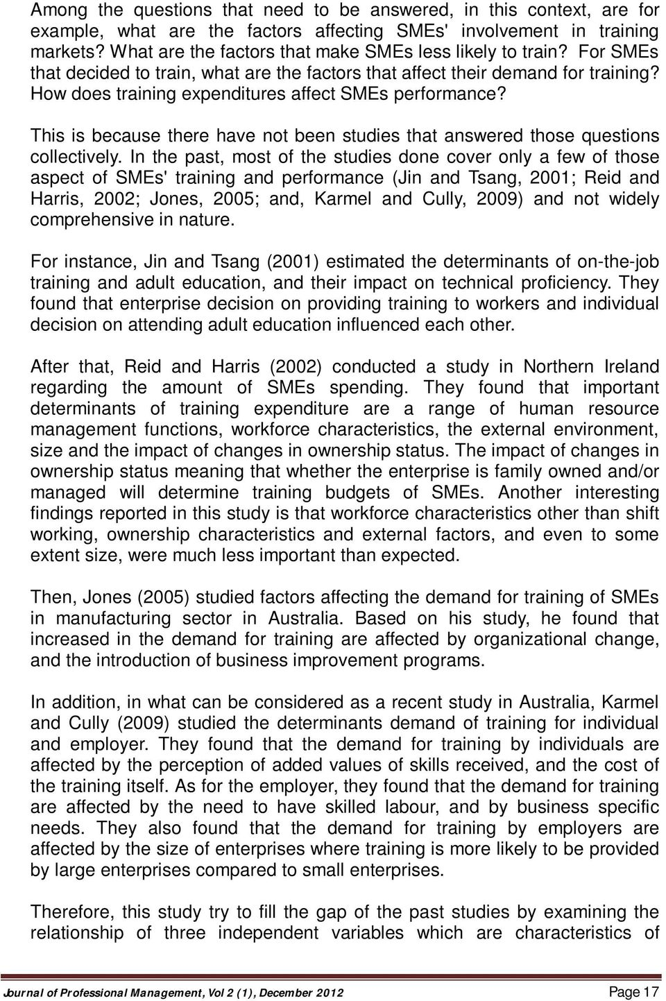 The Impact of Training on Small and Medium Enterprises (SMEs