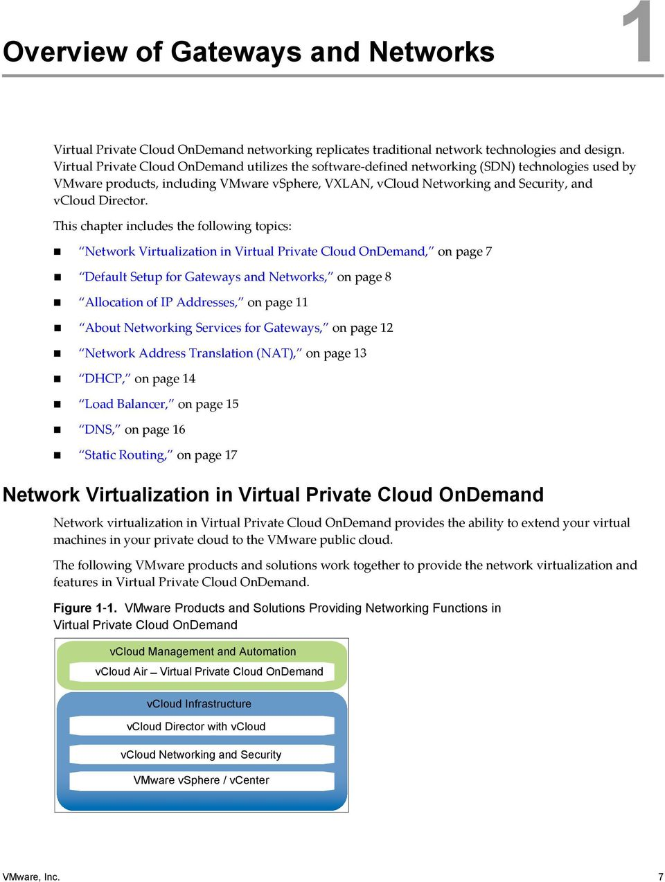 This chapter includes the following topics: Network Virtualization in Virtual Private Cloud OnDemand, on page 7 Default Setup for Gateways and Networks, on page 8 Allocation of IP Addresses, on page