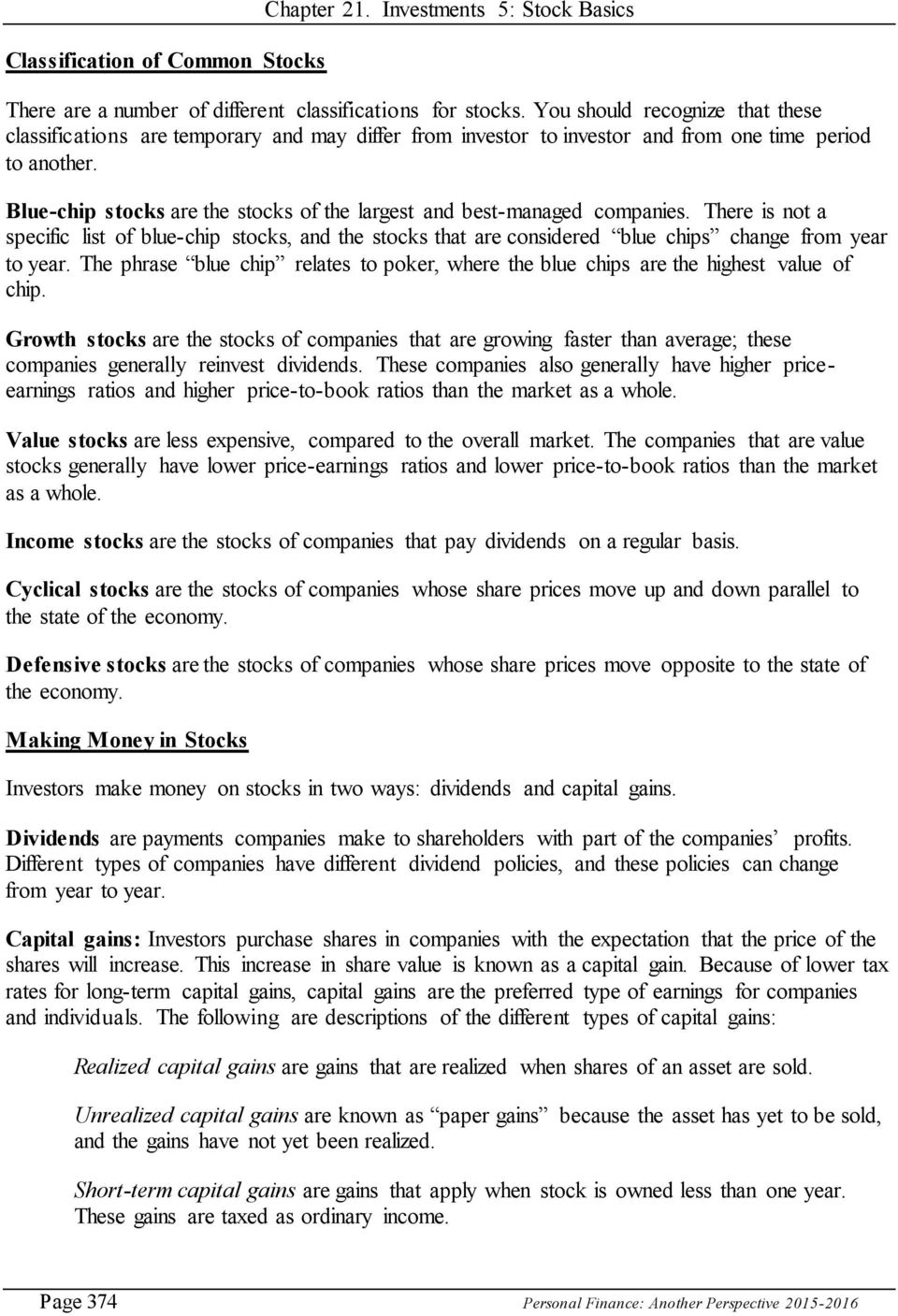 21  Investments 5: Stock (or Equity) Basics - PDF