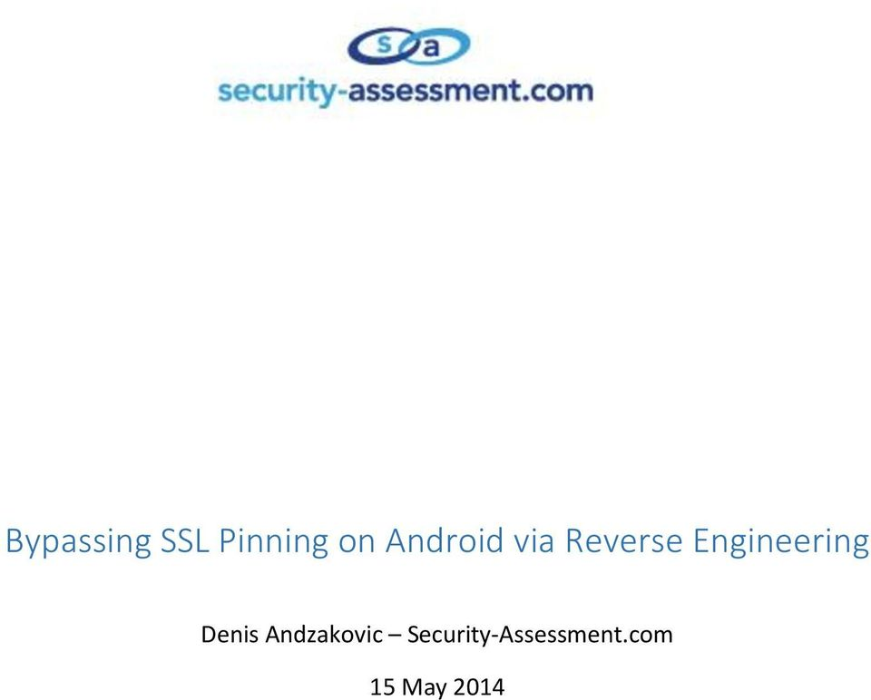 Bypassing SSL Pinning on Android via Reverse Engineering - PDF