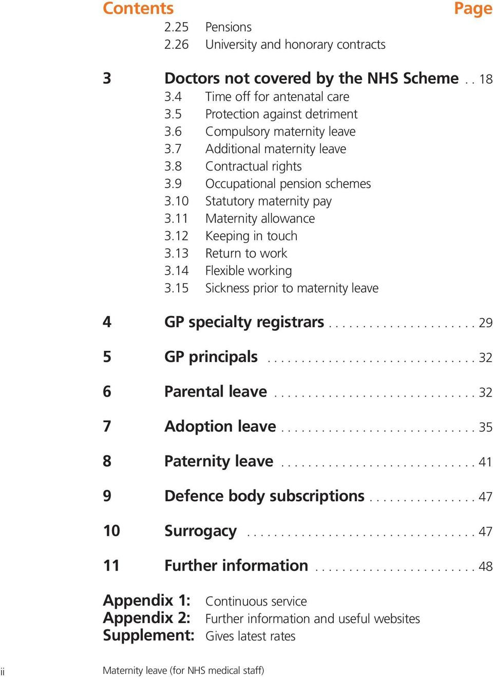 13 Return to work 3.14 Flexible working 3.15 Sickness prior to maternity leave 4 GP specialty registrars...................... 29 5 GP principals............................... 32 6 Parental leave.
