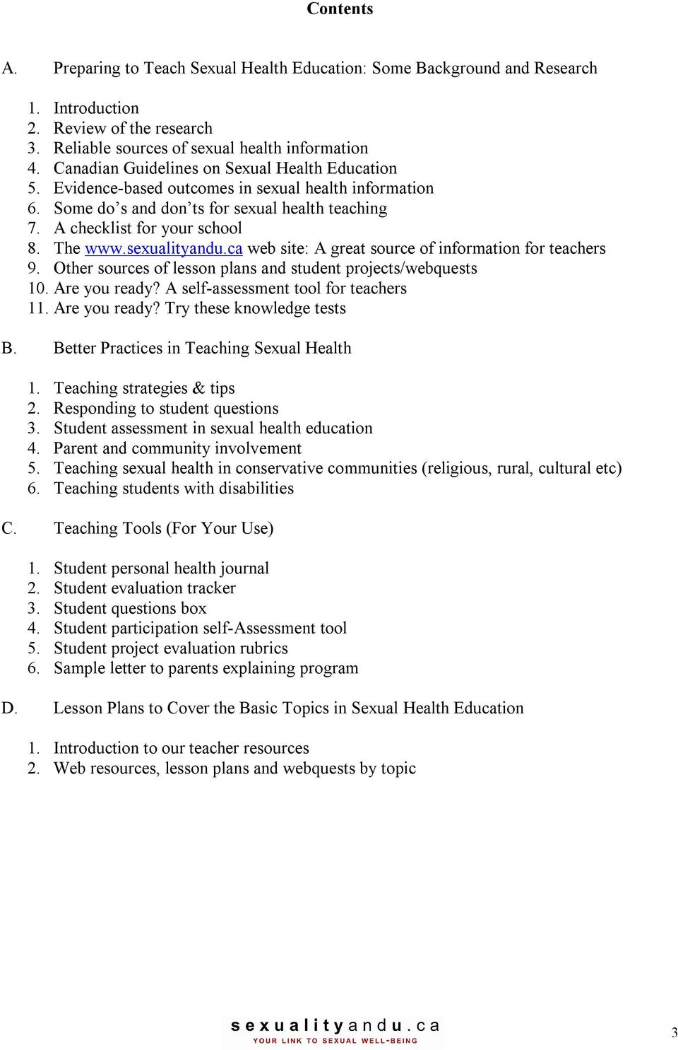 Health education sexuality lesson plans