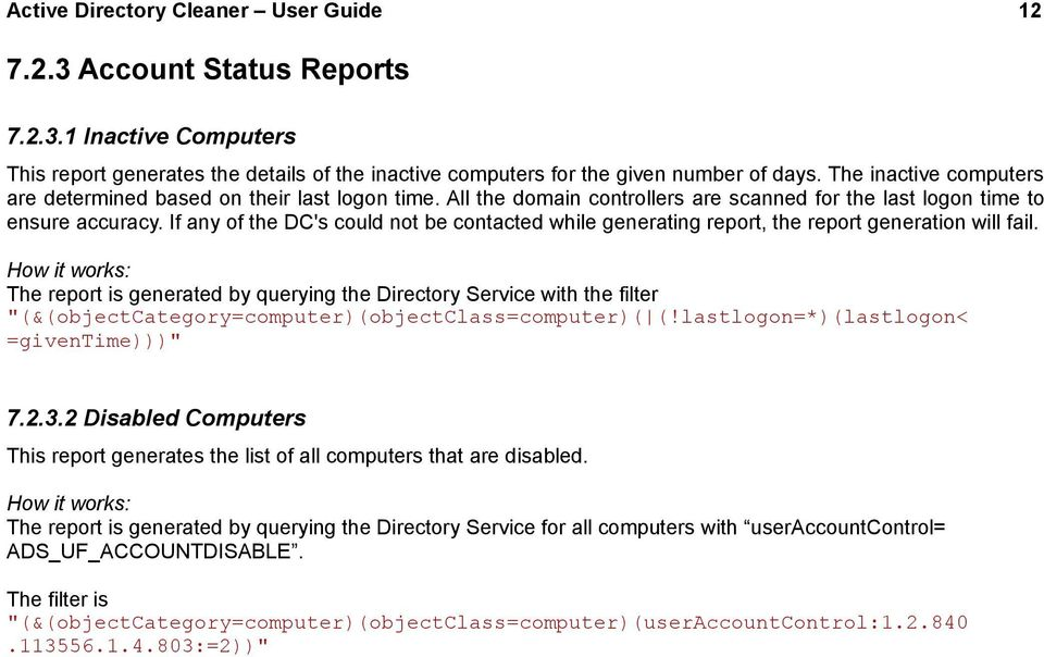 Active Directory Cleaner User Guide 1  Active Directory Cleaner User
