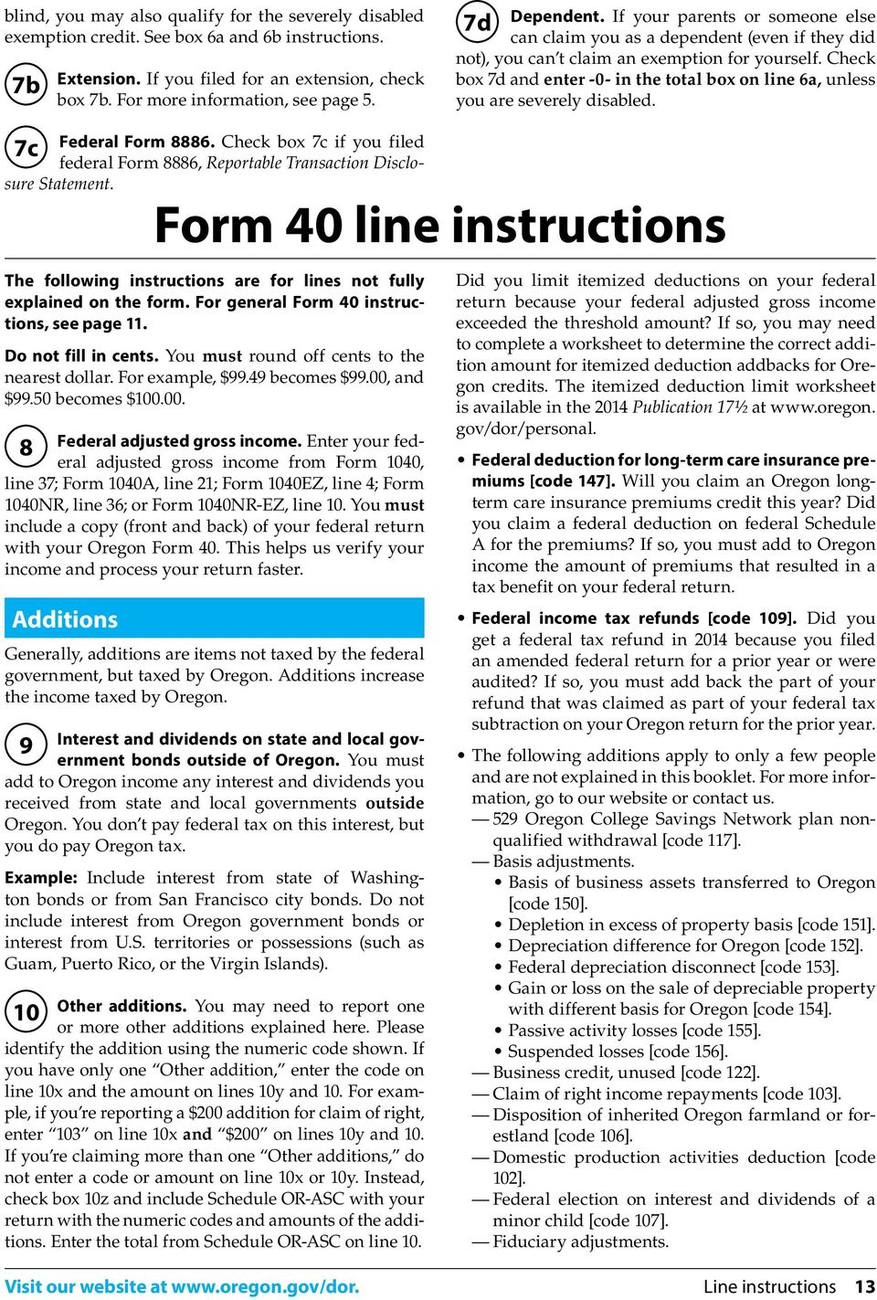 Oregon Income Tax Full Year Resident Form 40 And Form 40 V Schedules