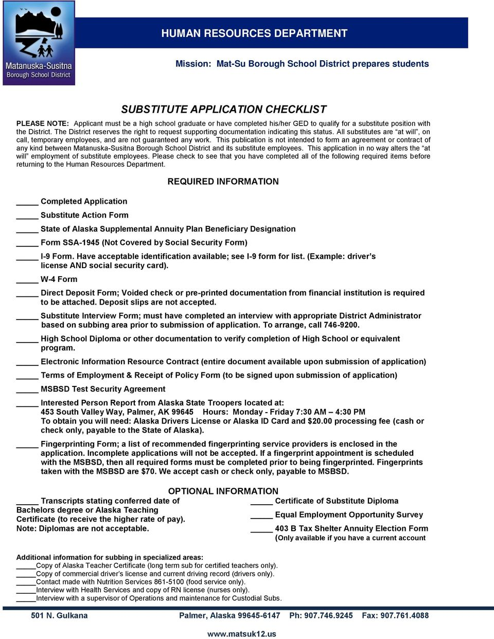 Human Resources Department Substitute Application Checklist Pdf