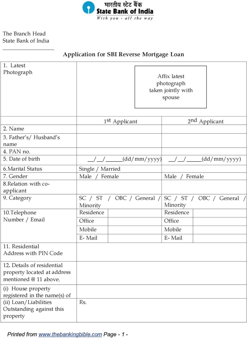 Application for SBI Reverse Mortgage Loan - PDF