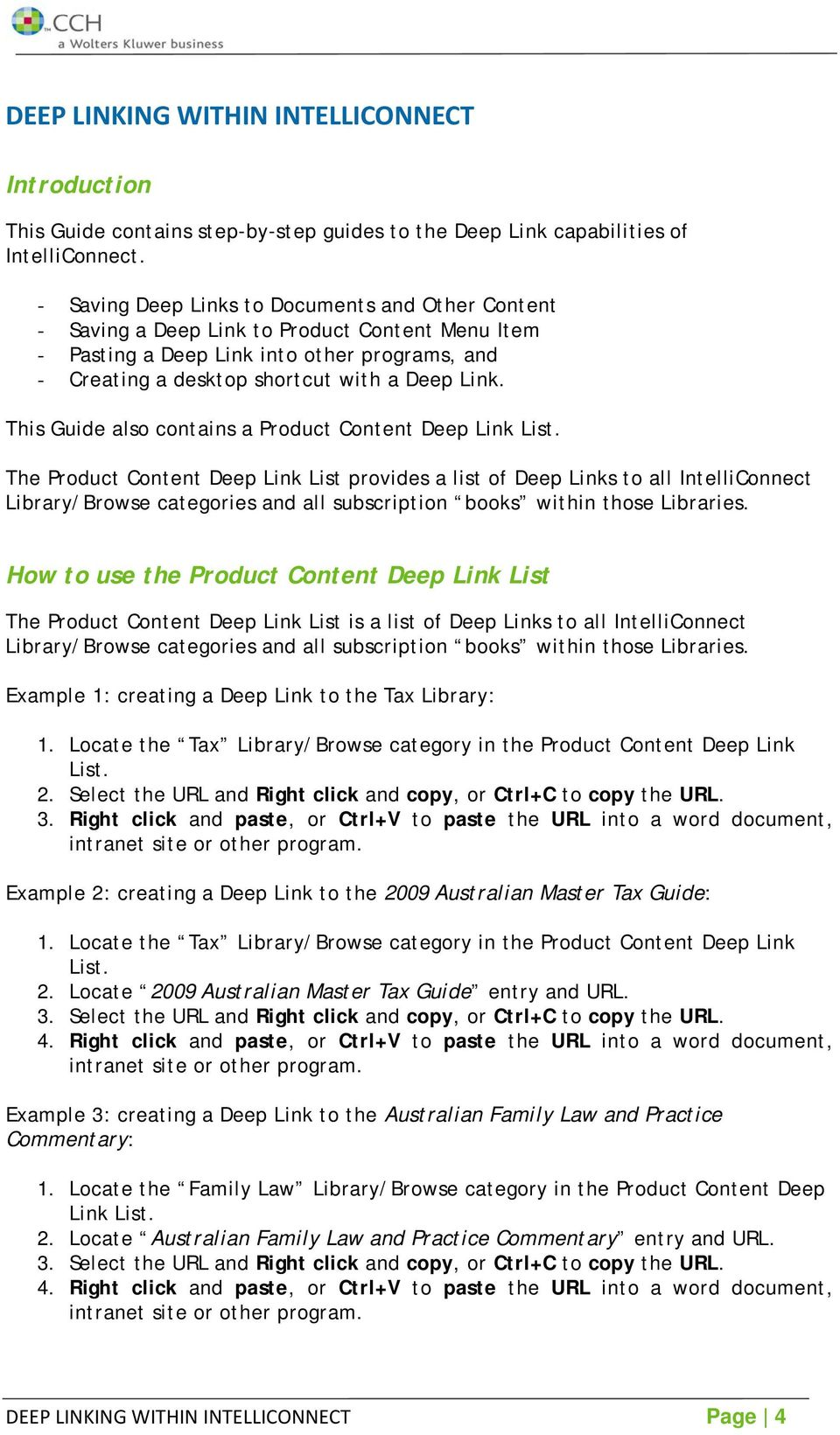 This Guide also contains a Product Content Deep Link List.
