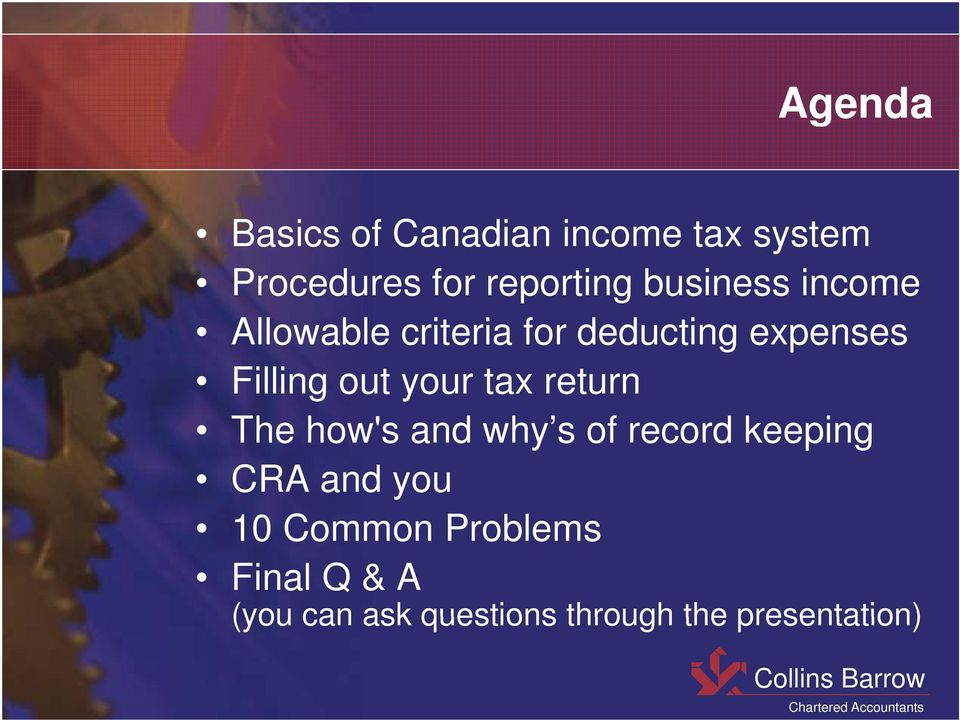 your tax return The how's and why s of record keeping CRA and you 10