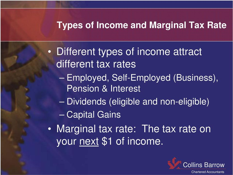 (Business), Pension & Interest Dividends (eligible and