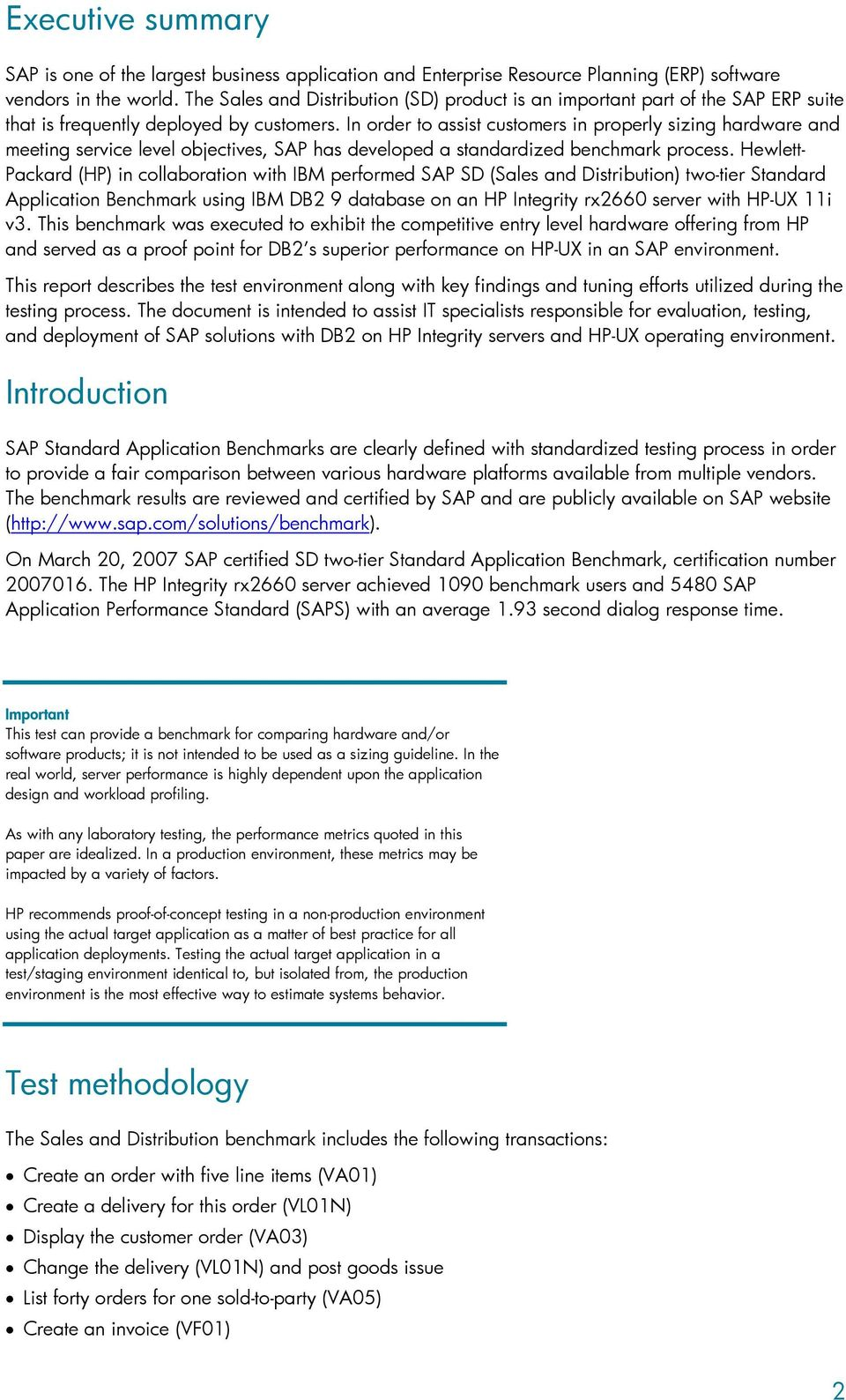 Benchmark report for SAP SD two-tier Standard Application