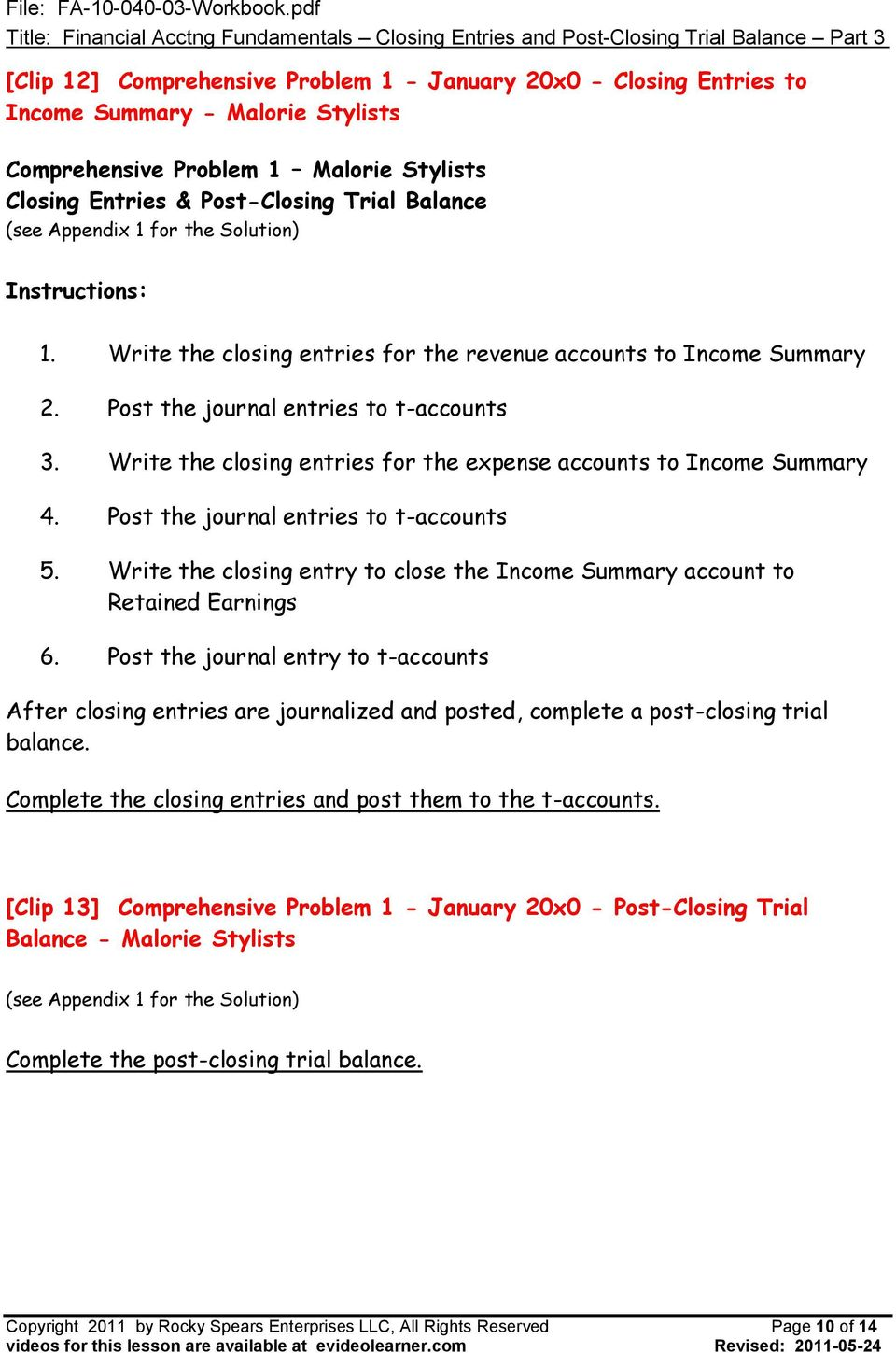 Lesson FA Financial Accounting Fundamentals - Closing Entries and