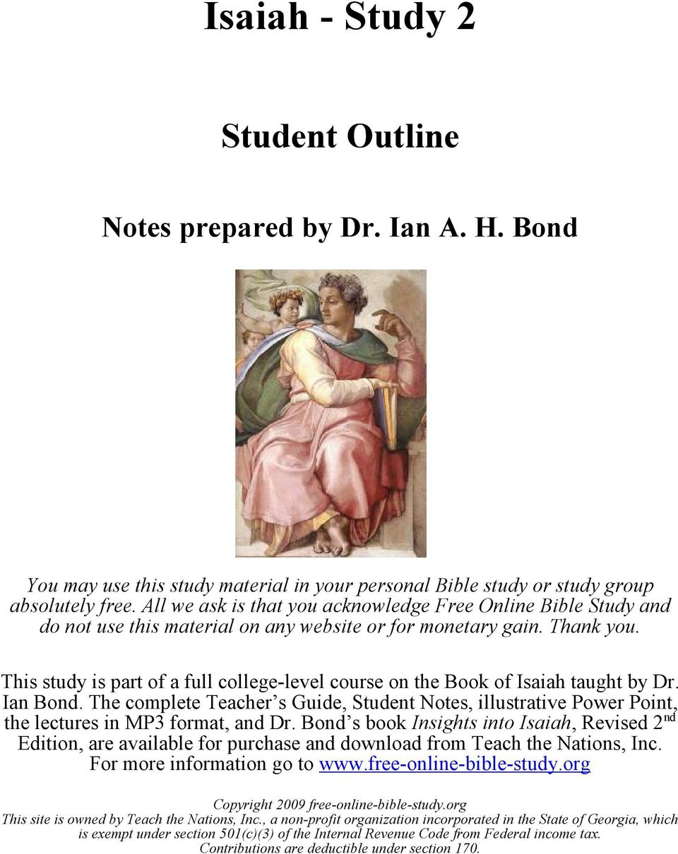 Isaiah - Study 2  Student Outline  Notes prepared by Dr  Ian