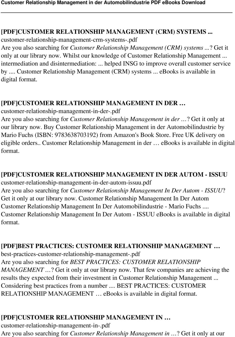 Customer Relationship Management Second Edition Pdf