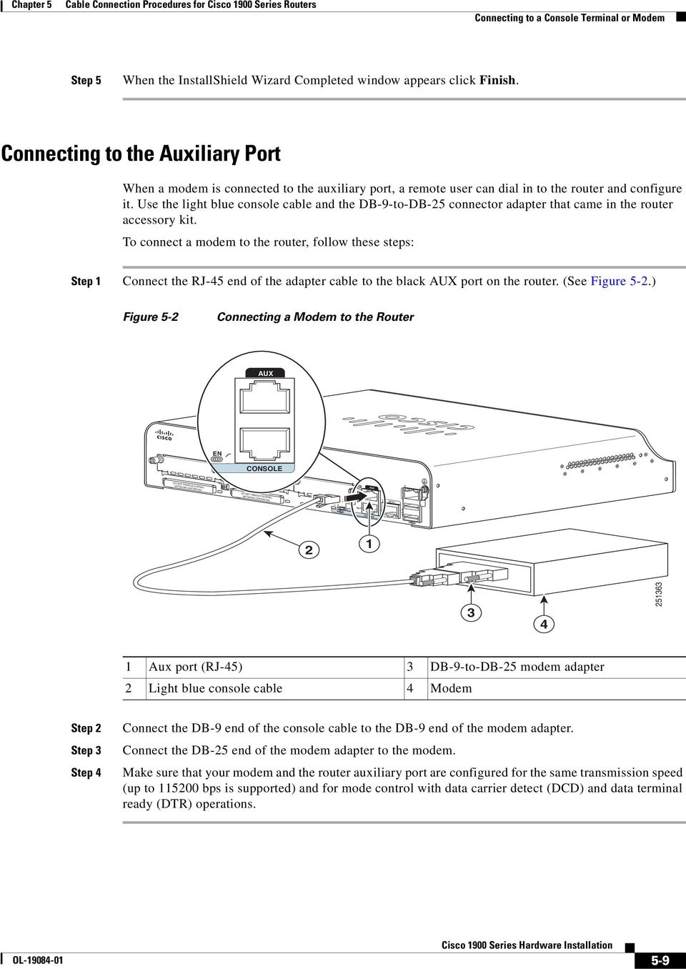 Cable Connection Procedures For Cisco 1900 Series Routers Pdf Rollover Diagram Use The Light Blue Console And Db 9 To