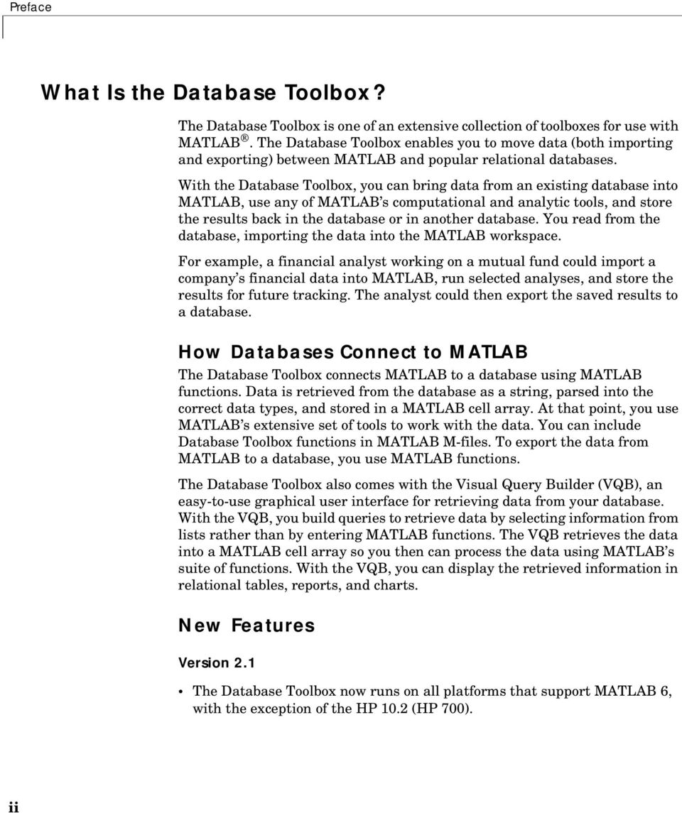Database Toolbox  User s Guide Version 2 1  For Use with
