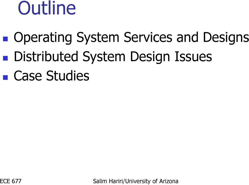 Ece 677 Distributed Computing Systems Distributed Operating Systems Design Issues Case Studies Pdf Free Download