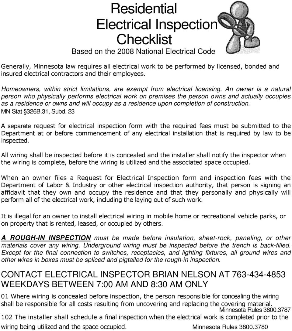 Residential Electrical Inspection Checklist Pdf Arc Fault Safety Advice For Homeowners Home Inspectors An Owner Is A Natural Person Who Physically Performs Work On Premises The Owns