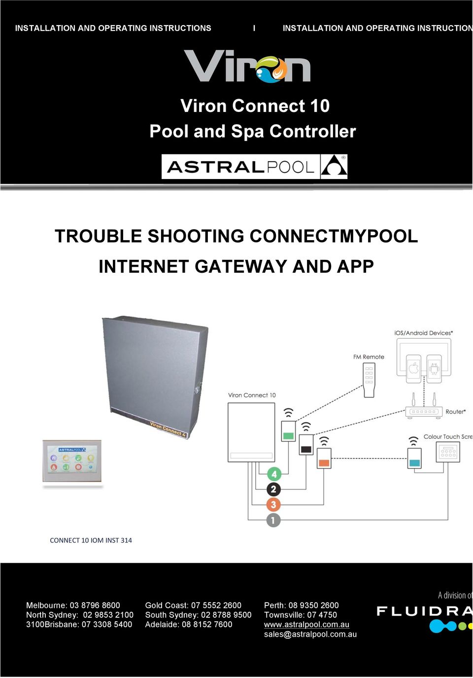 Installation And Operating Instructions I Rj12 Wiring Diagram For Pools Inst 314 Melbourne 03 8796 8600 Gold Coast 07 5552 2600 Perth 08