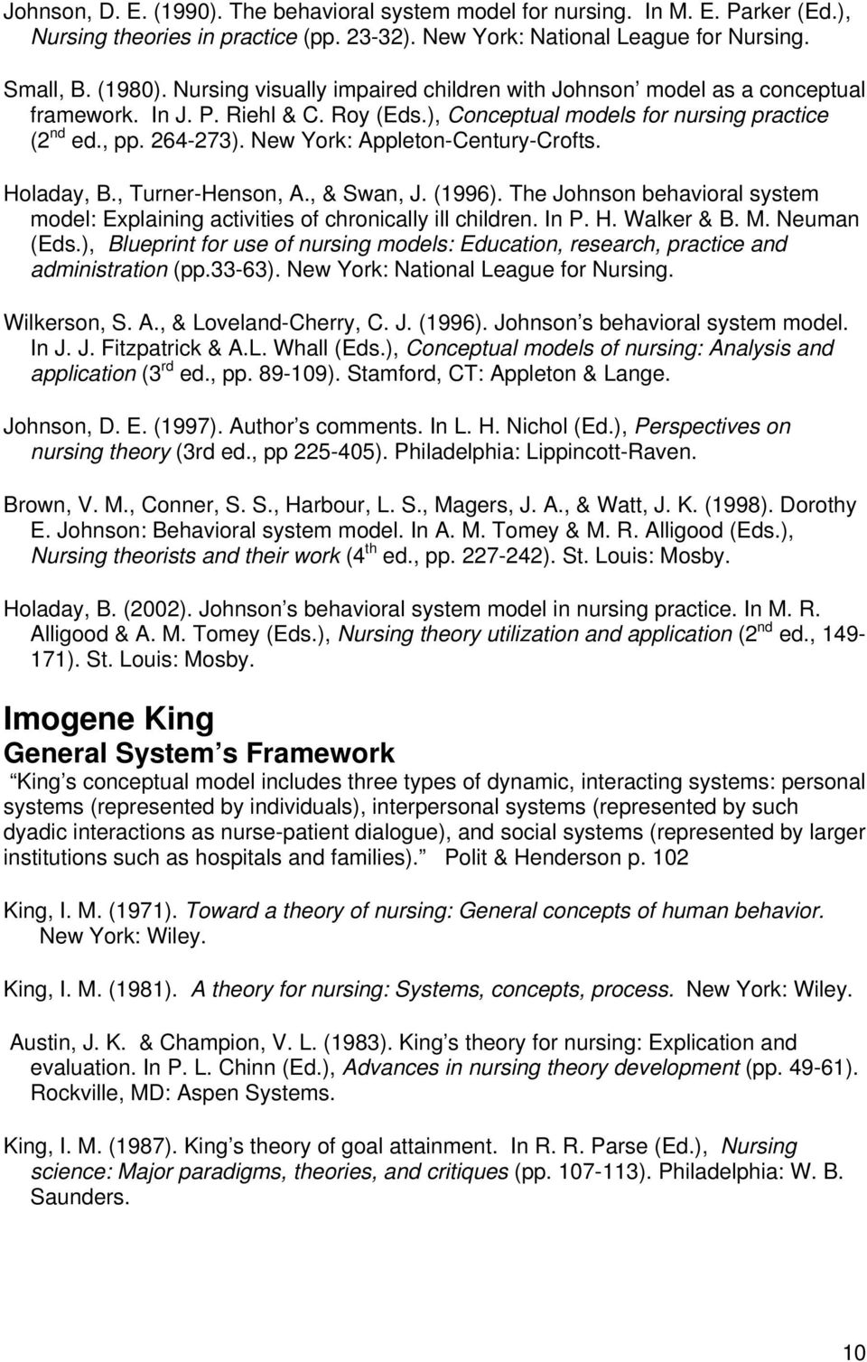 imogene kings interacting systems theory
