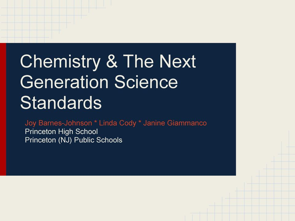 Chemistry & The Next Generation Science Standards - PDF
