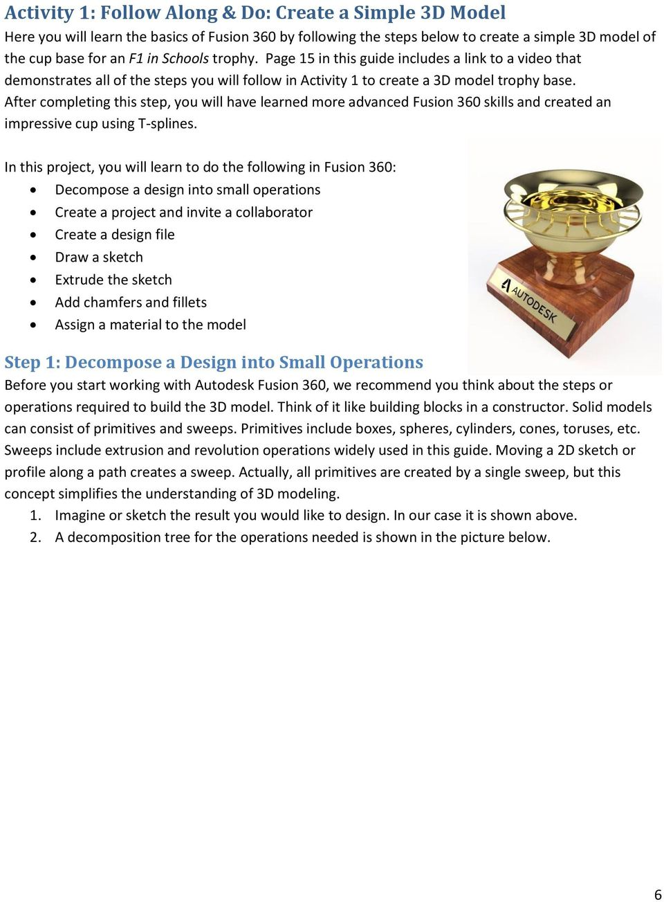 Autodesk Fusion 360 Badge Guide: Design an F1 in Schools Trophy - PDF