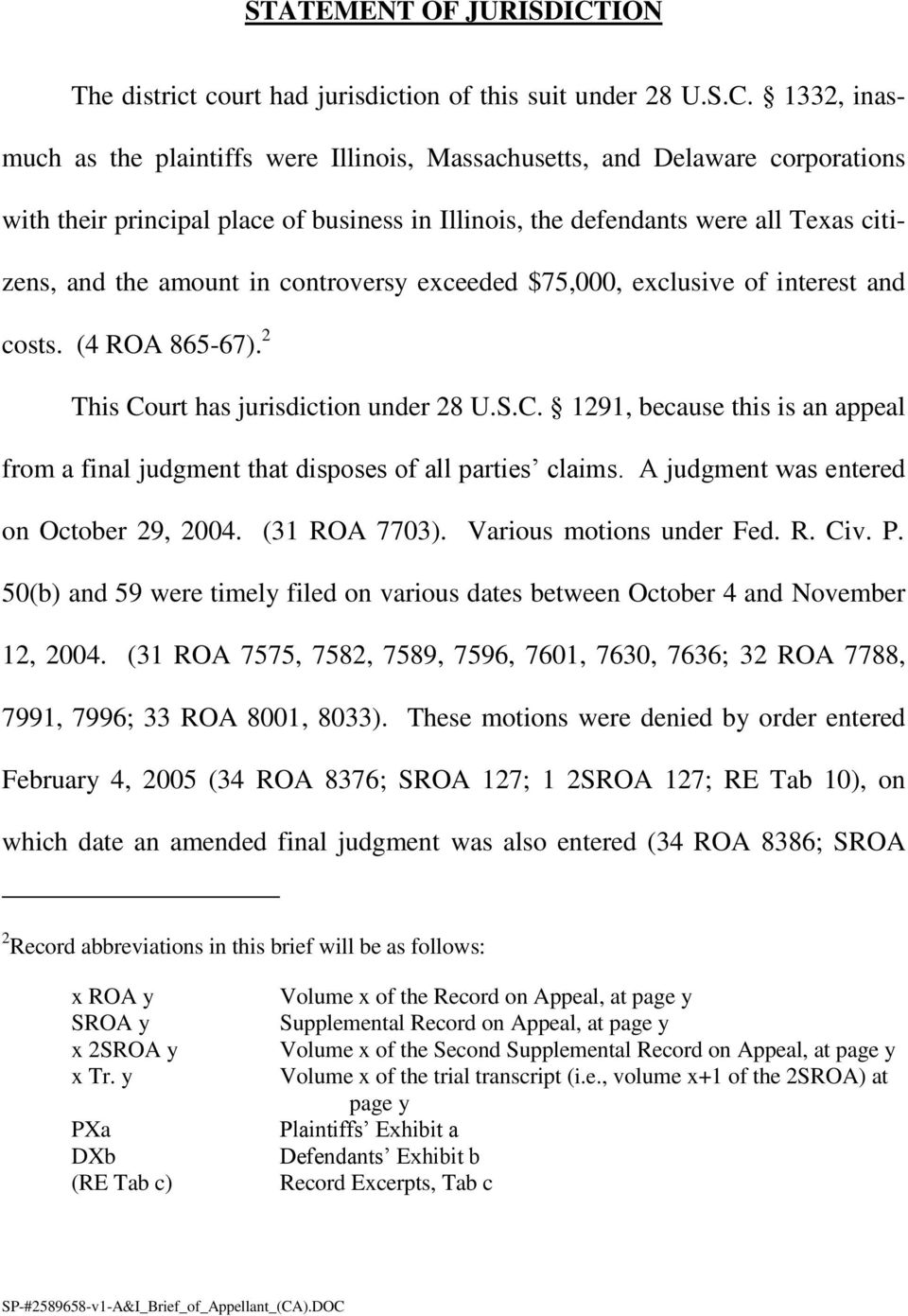 1332, inasmuch as the plaintiffs were Illinois, Massachusetts, and Delaware corporations with their principal place of business in Illinois, the defendants were all Texas citizens, and the amount in