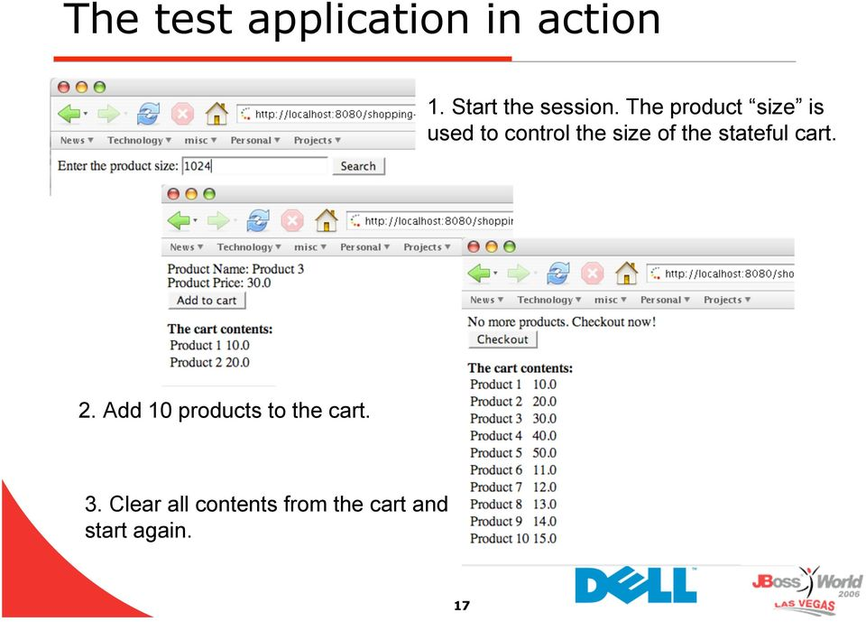 stateful cart. 2. Add 10 products to the cart. 3.