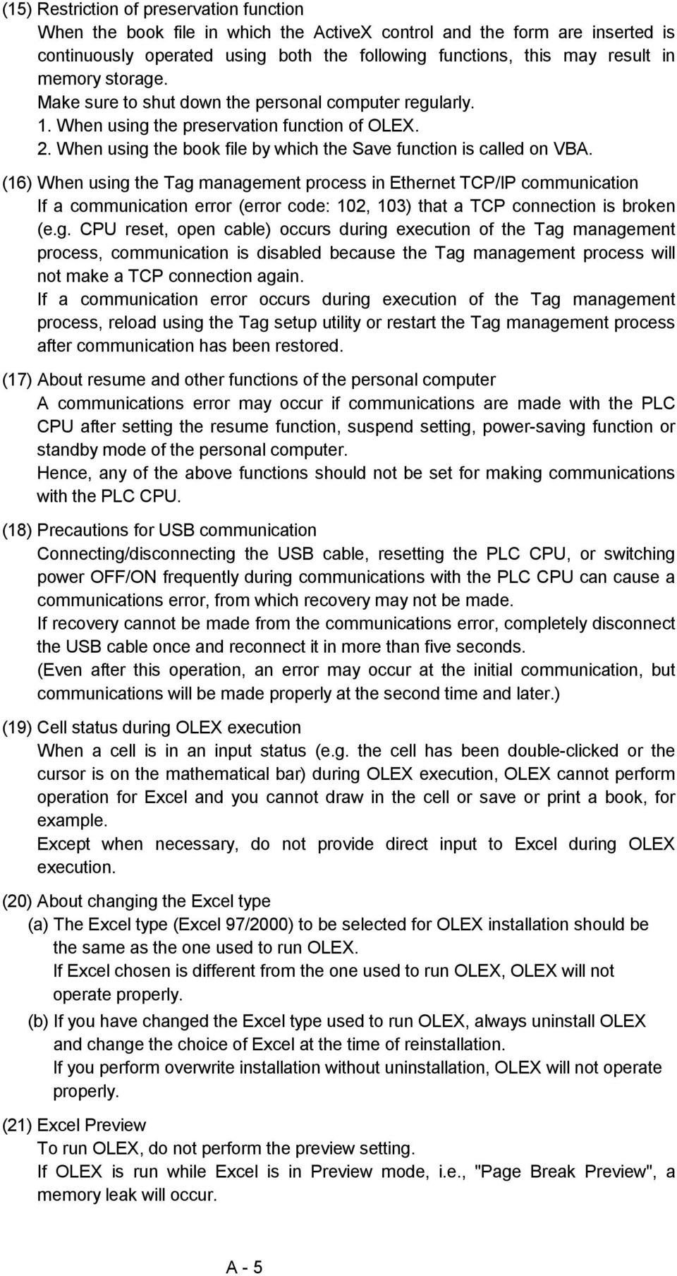 Type SW3D5F-OLEX-E Excel Communication Support Tool