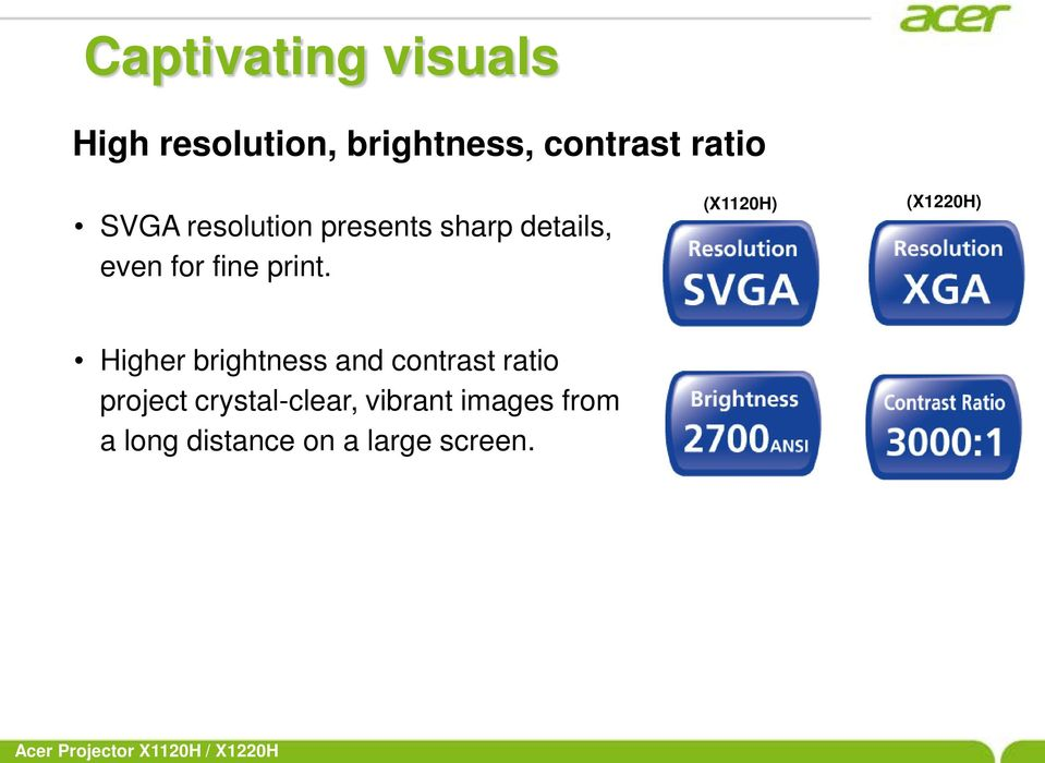 (X1120H) (X1220H) Higher brightness and contrast ratio project