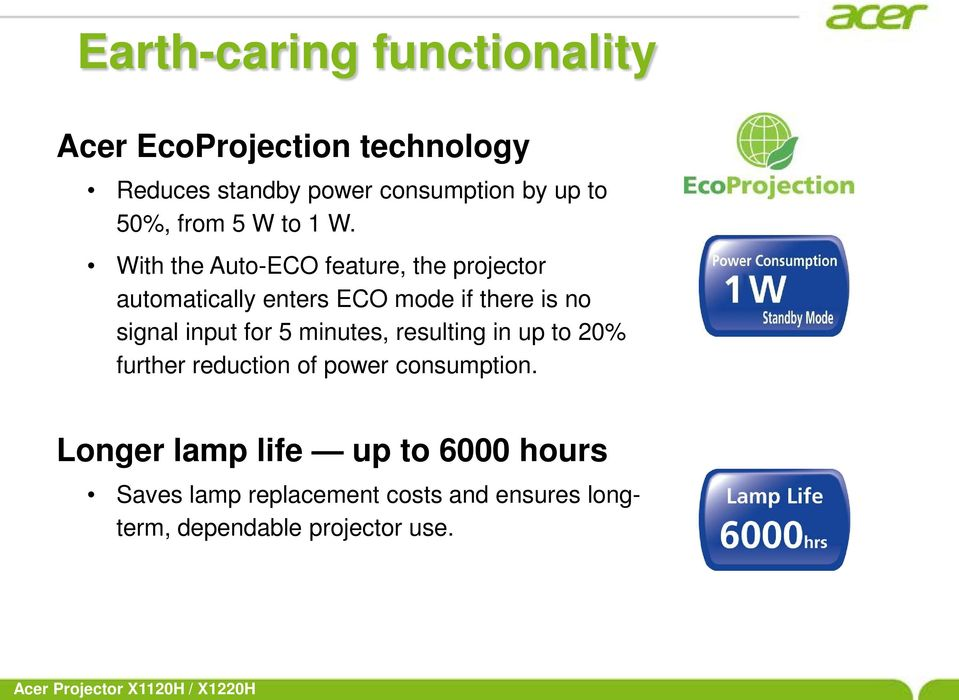 With the Auto-ECO feature, the projector automatically enters ECO mode if there is no signal input for