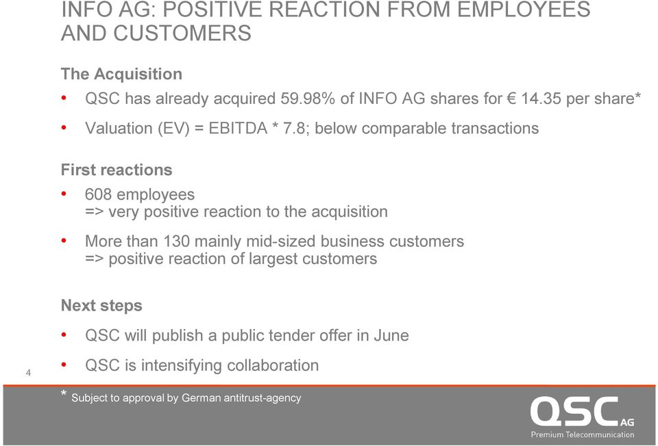 8; below comparable transactions First reactions 608 employees => very positive reaction to the acquisition More than 130 mainly