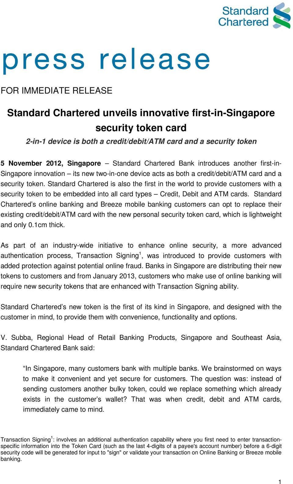 Standard Chartered unveils innovative first-in-singapore security