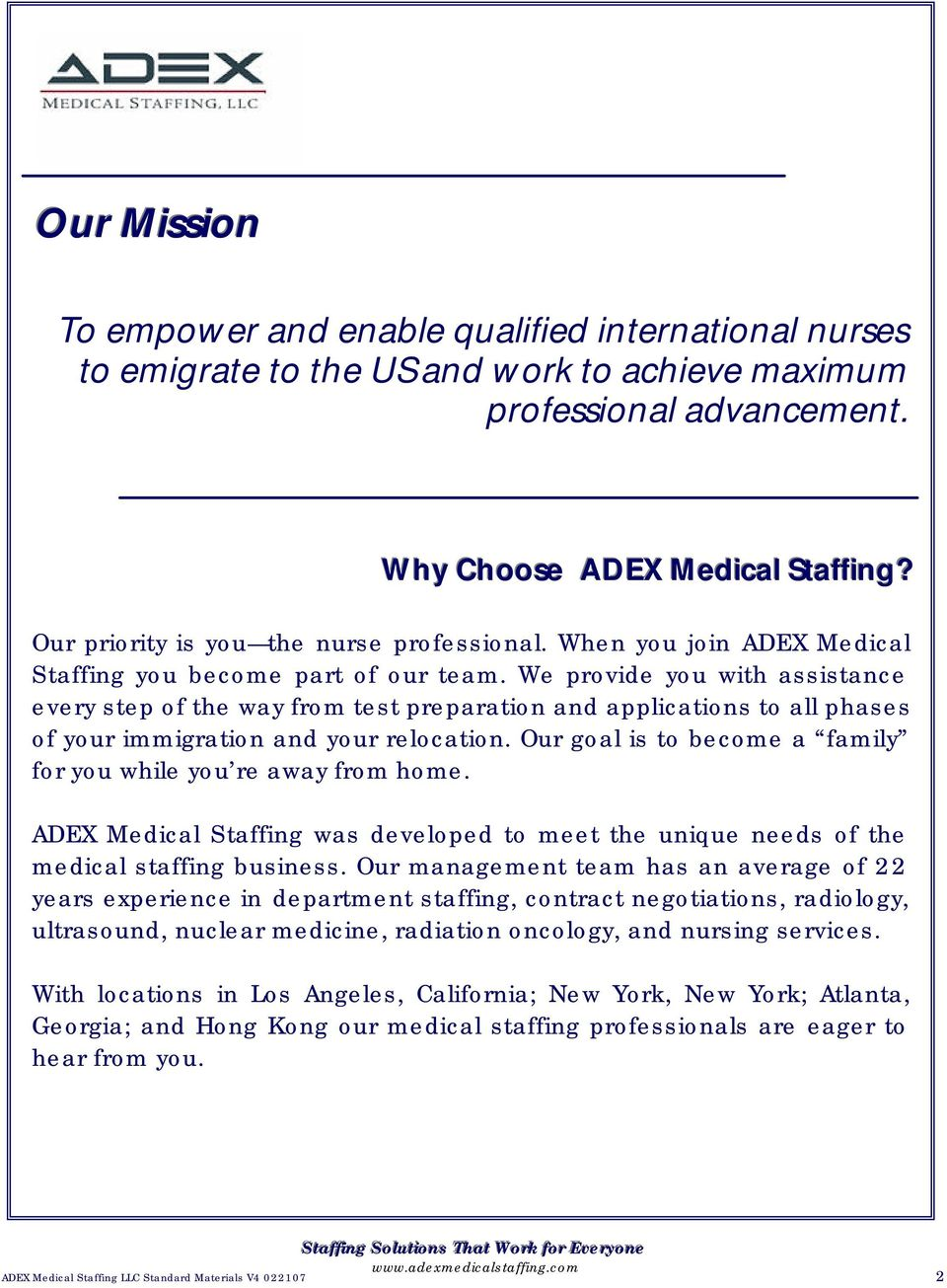 Staffing Solutions that work for everyone  ADEX Medical Staffing LLC