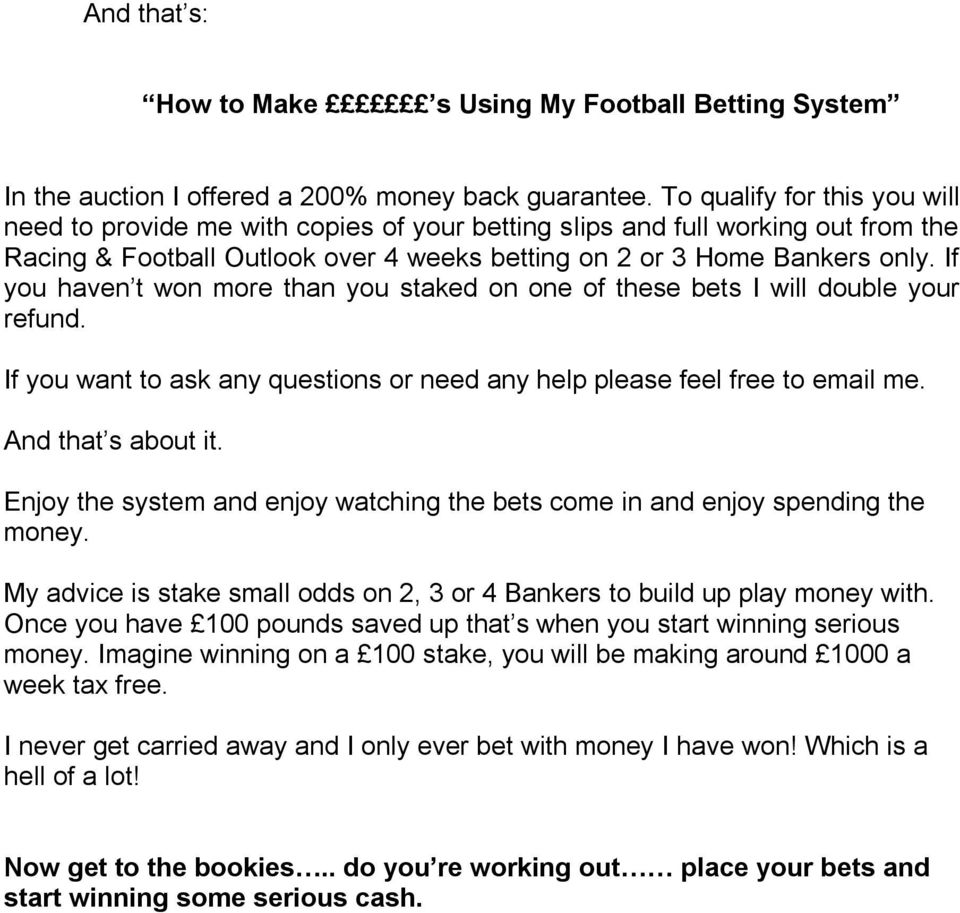 Diy sports betting systems pdf free wayne bettinger southwick