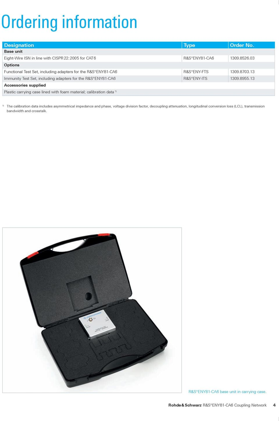 13 Immunity Test Set, including adapters for the R&S ENY81-CA6 R&S ENY-ITS 1309.8955.