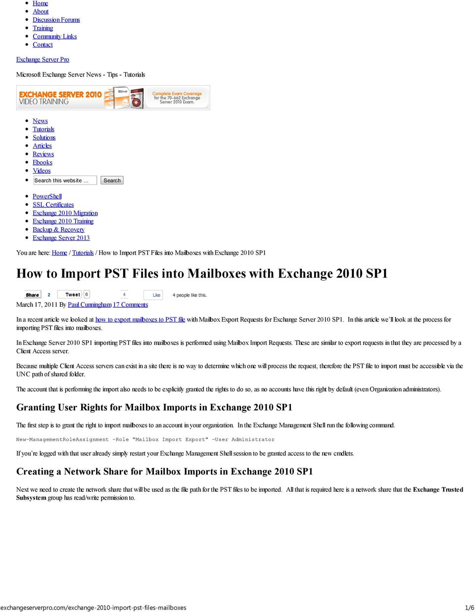 How to Import PST Files into Mailboxes with Exchange 2010