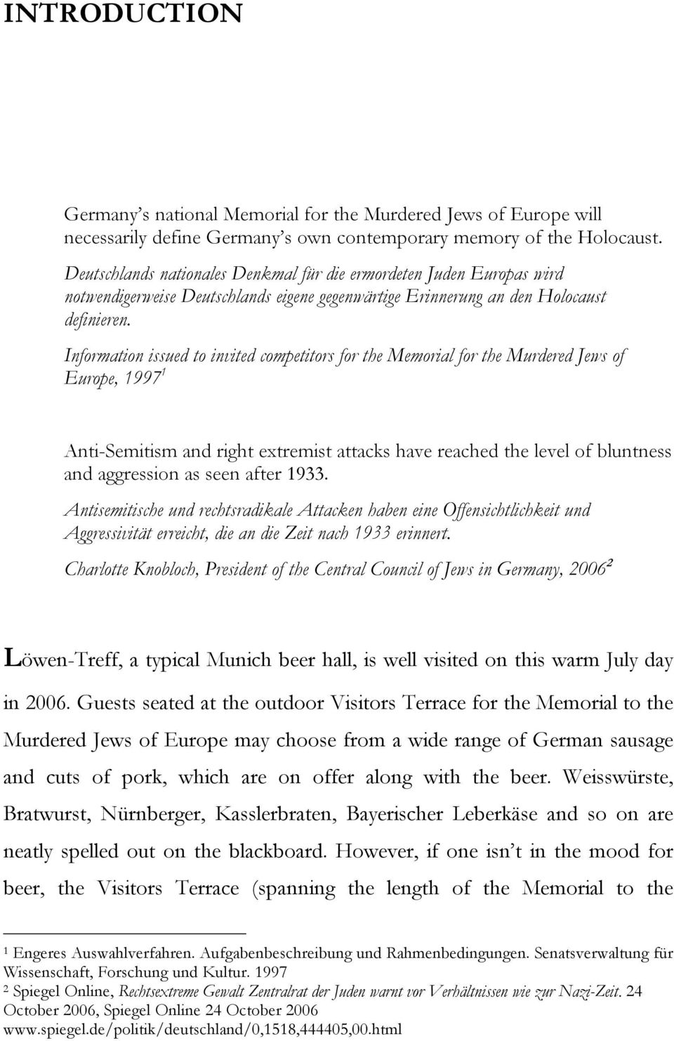 Information issued to invited competitors for the Memorial for the Murdered  Jews of Europe, 1997