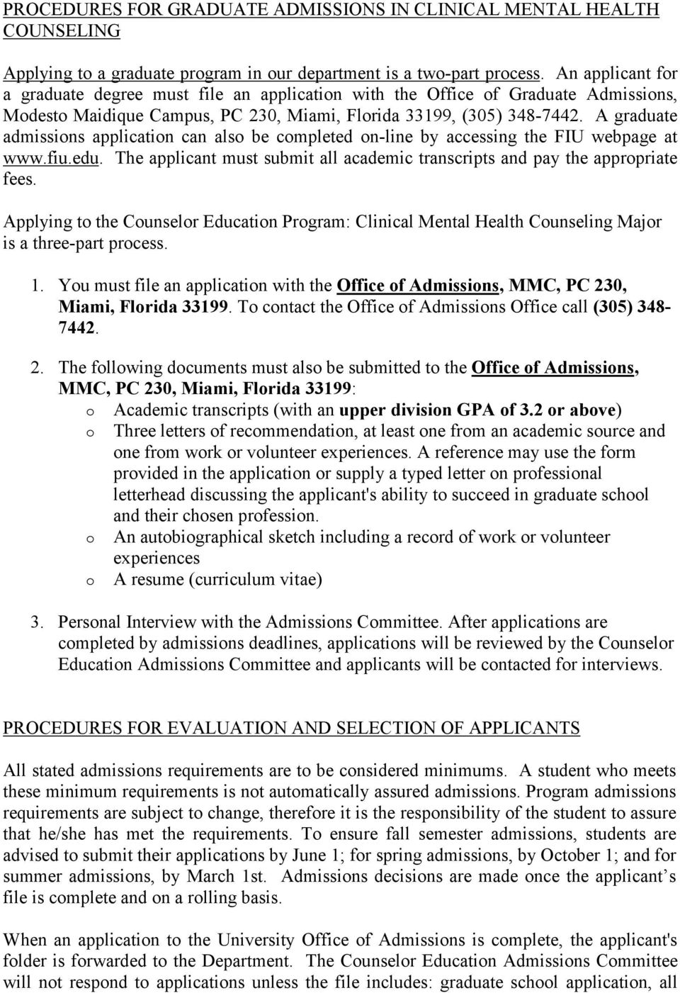 Master Of Science In Counselor Education Clinical Mental Health